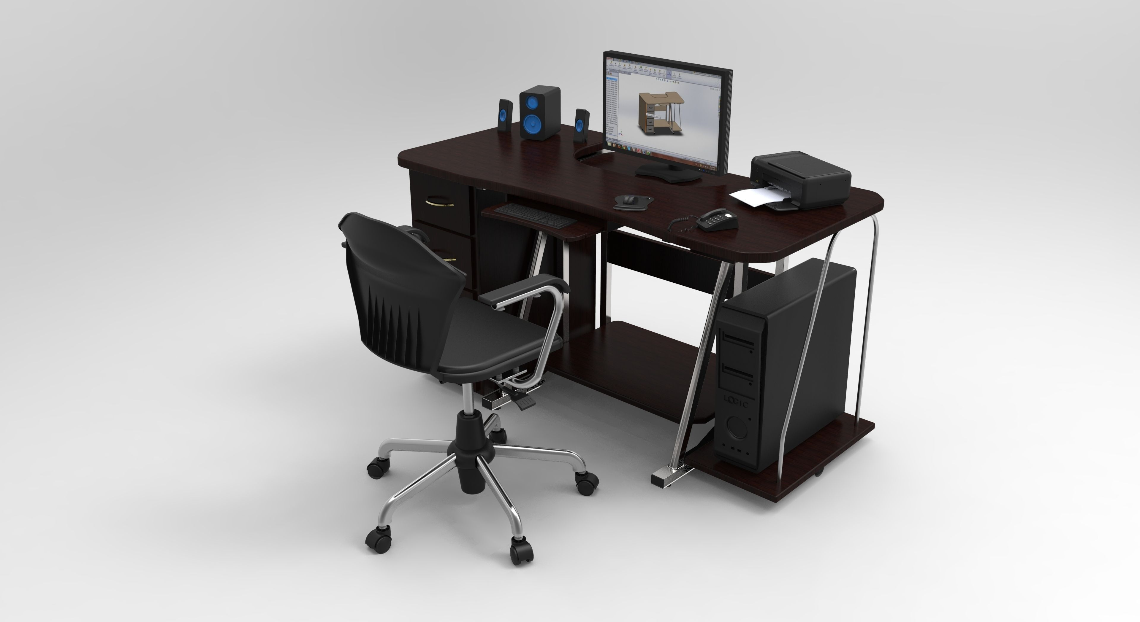 pc table 3 3d model cgtrader
