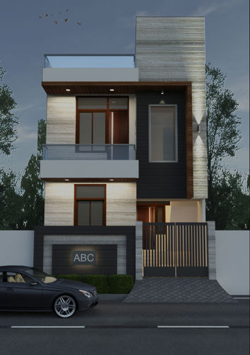 3d Exterior House Designs: 3D Model Exterior Elevation In Night View