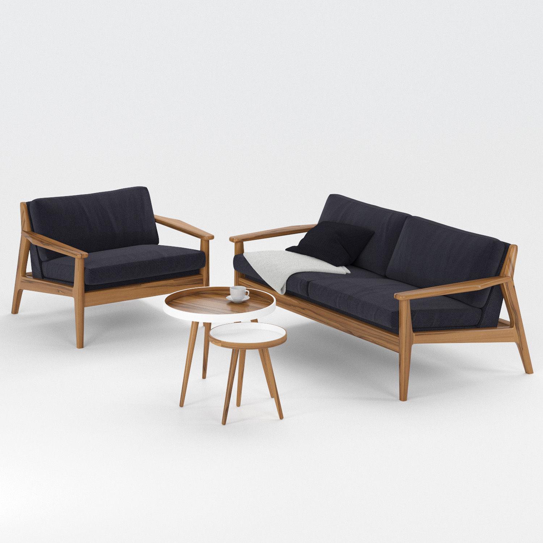 Scandinavian Sofa Set Model Max Obj Mtl Mat