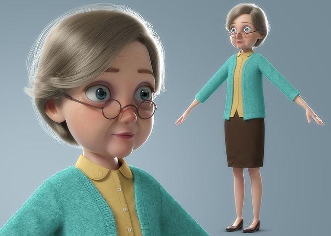 cartoon old woman norig 3d model obj mtl fbx ma mb mel 1
