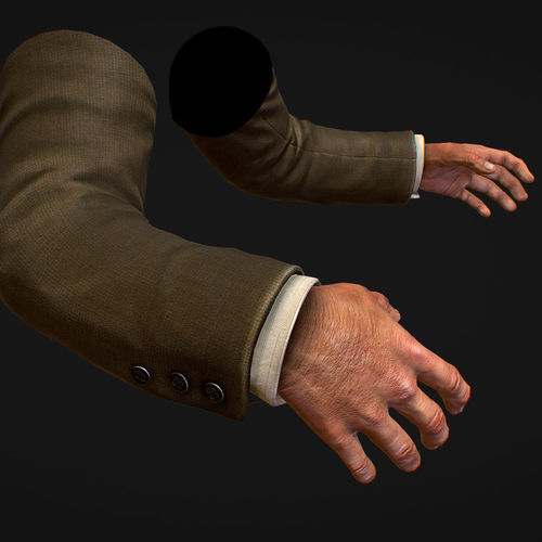 first person arms coat fps rigged animated 3d model low-poly rigged animated max obj mtl fbx ma mb tga 1