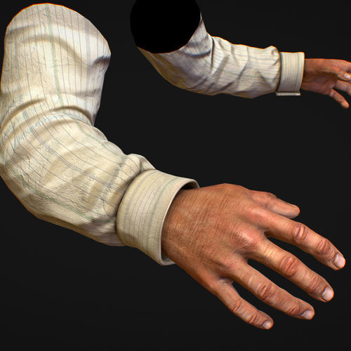 first person arms shirt fps rigged animated 3d model animated max obj mtl fbx ma mb tga 1