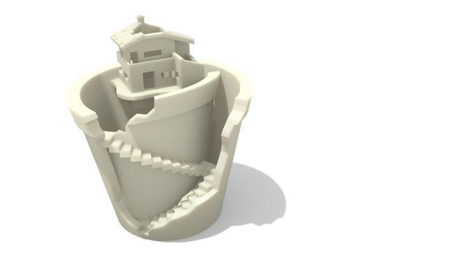broken plant pot with house 3d model stl 1