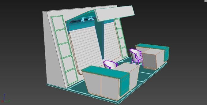 exhibition  stand show interior  3d model low-poly max 1