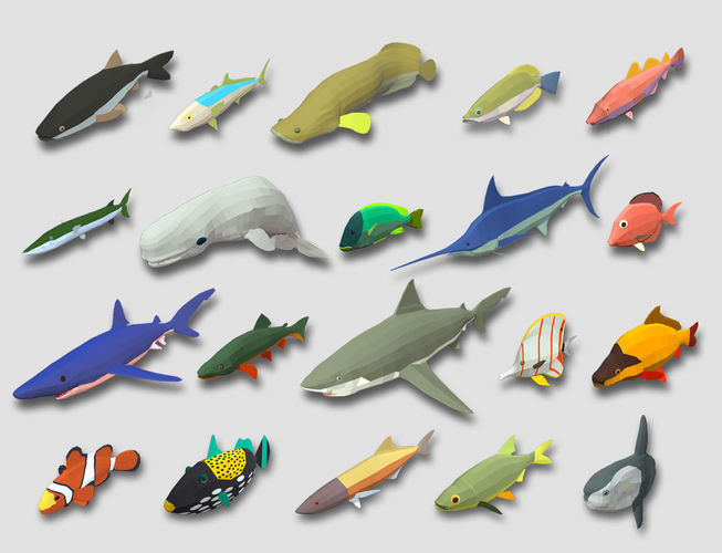 fish cartoon collection part 01 animated - game ready 3d model low-poly rigged animated max obj mtl 3ds fbx 1