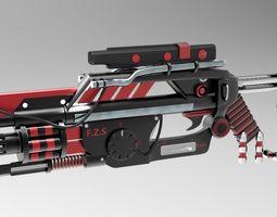 3D model sci fi gun cum launcher with knife