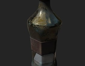 3D model bottle with substance on the bottom PBR low poly