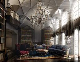 3d hall room with large bookshelves