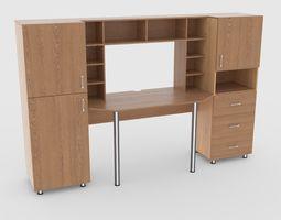 3D model computer desk wall 2