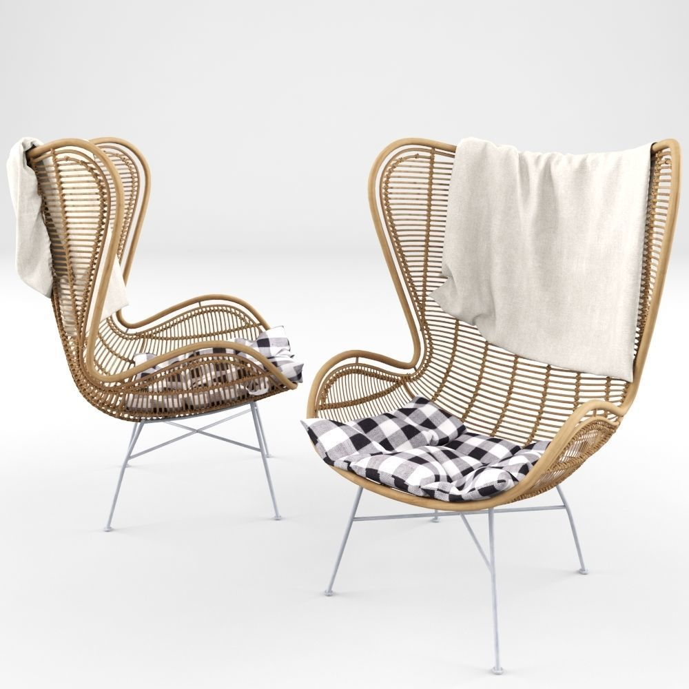 ... Rattan Wing Chair 3d Model Max Obj Fbx Mtl ...