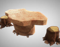3D Stylized Rock Table with Tree Trunk Chair Model