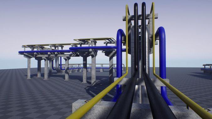 modular industrial pipe concrete trestle 3d model low-poly fbx unitypackage mat uasset prefab 1