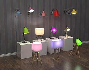 3D model 12 home lamps set