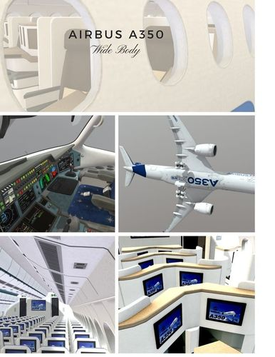 airbus a350 - 900 with cockpit and full cabin interior 3d model max obj mtl 3ds fbx c4d lwo lw lws 1