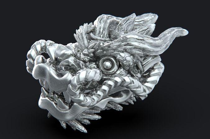 dragon head 3d model obj mtl stl 1