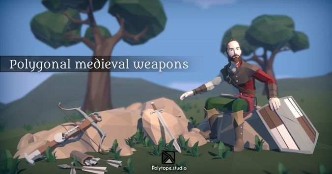 lowpoly medieval world - lowpoly medieval weapons pack 3d model low-poly rigged fbx ma mb tga unitypackage prefab 1