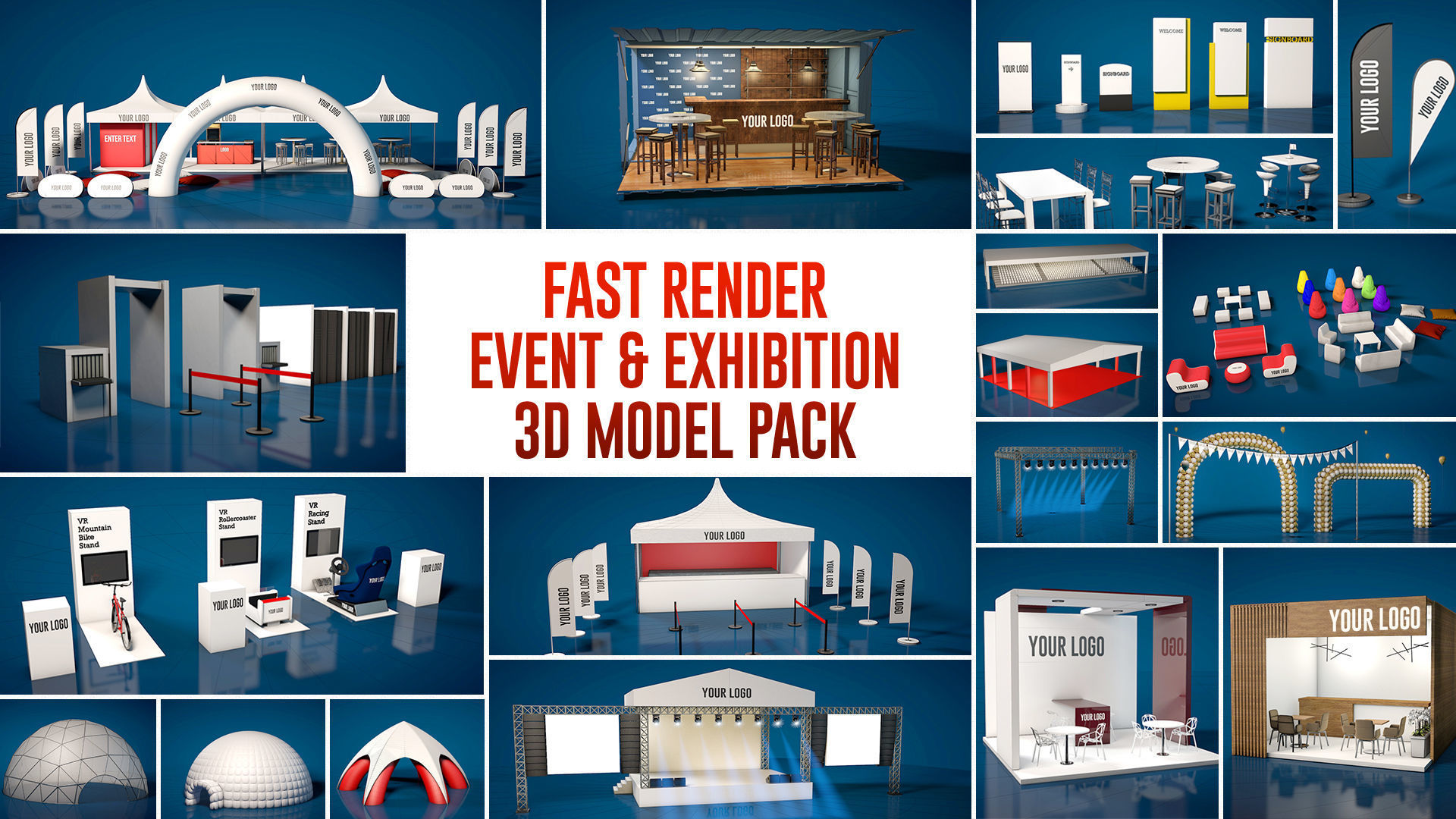 Fast Render Event and Exhibition 3d Model Pack 2020