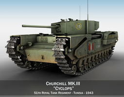 Churchill MK III - Cyclops 3D model