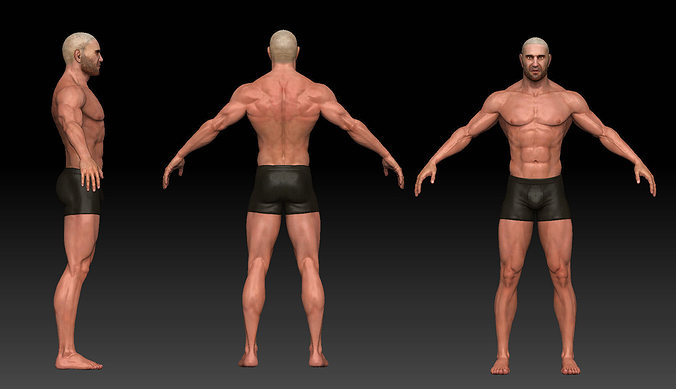 male body 3d model low-poly obj fbx ztl tga 1