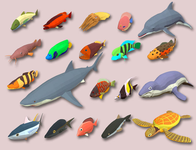 fish cartoon collection part 02 animated - game ready 3d model low-poly max obj mtl 3ds fbx 1