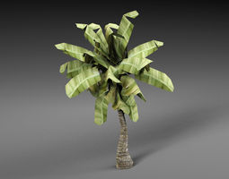 3D asset low-poly Palm tree leaf