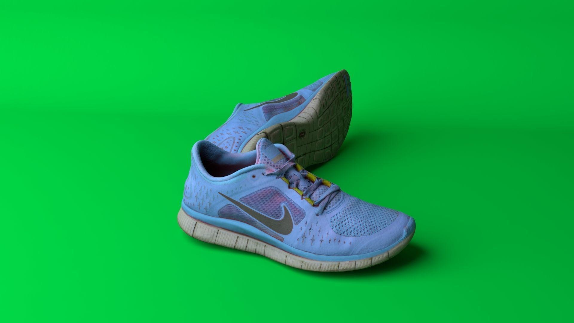 Pair of worn Nike Free Run 3 sneakers | 3D model