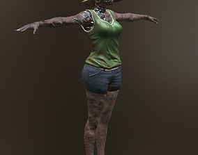 3D asset Zombie Female with Hat