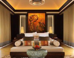 3d model oriental living room interior