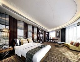 fully carpeted luxury bedroom interior 3d