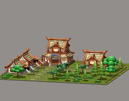 3D asset Cartoon Village