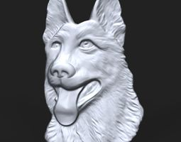 3D print model German Shepherd Dog bas relief for CNC