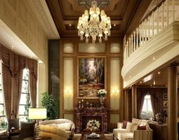 3d luxury hall interior with fireplace