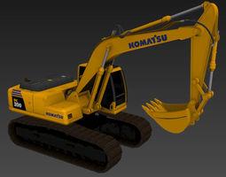 3D rigged Komatsu PC200 excavator