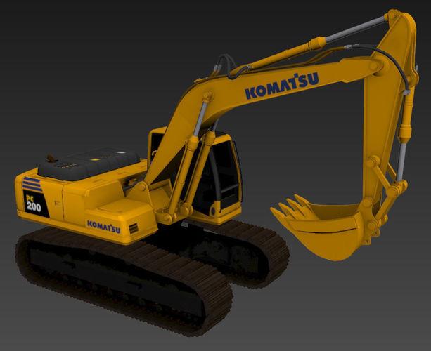 komatsu pc200 excavator 3d model max obj mtl 3ds fbx 1