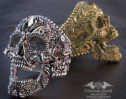 Sugar Skull ring - RSK000009 - 10 ring sizes 3D