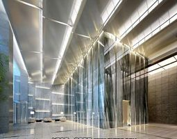 hall interior with exquisite lighting 3d