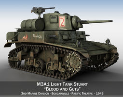 3D model M3A1 Light Tank Stuart - Blood and Guts