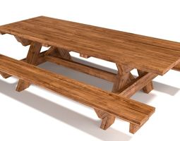 wooden outdoor-style picnic table 3d model