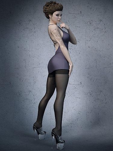 stockings high heels office girl 3d model max obj mtl fbx stl 1