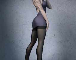 Stockings high heels office girl 3D Model