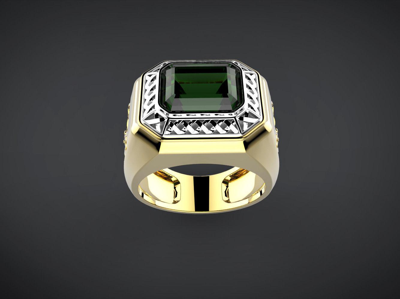 Men Ring With Green Stone 3d Model 3d Printable Stl 3dm