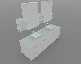 animated Medicine Cabinet with light and mirror 3D model