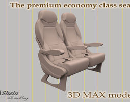 the premium economy class seat 3d model