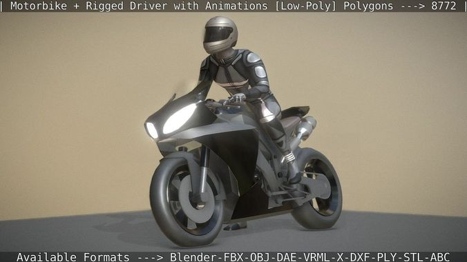 motorbike and rigged biker with animations  3d model low-poly rigged animated obj mtl 3ds fbx dxf stl blend 1