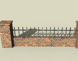 3D model wall with railing