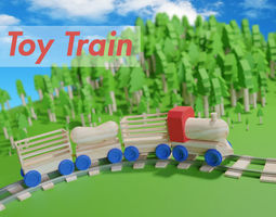 Wooden Toy Train cargo and track 3D
