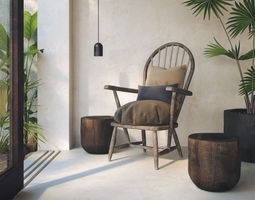 Rustic Wooden Armchair 3D model