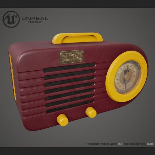vintage radio 3d model low-poly max obj mtl fbx 1