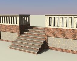 3D model brick stairs with railing