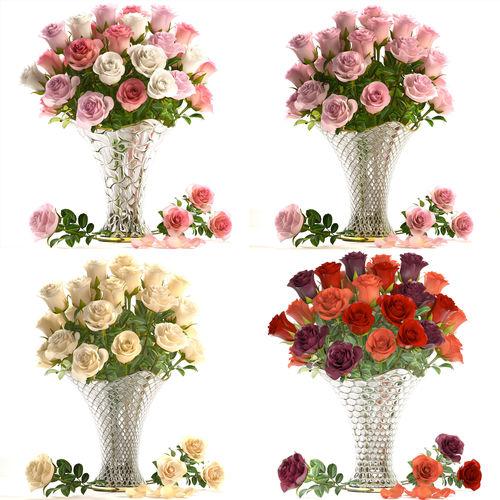 collection of roses in a vase 3d model max obj mtl fbx 1